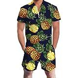 Goodstoworld Mens Romper Suits 3D Graphic Printed Zip Up Jumpsuit Grandad Shirt Summer Outdoor Onesies