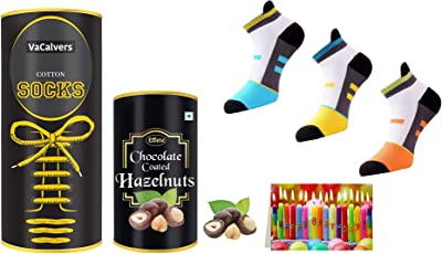 Couple's Gift Combo   Socks + Chocolate   Men's Multicolored Cotton Socks_Free Size   Effete Chocolate Coated Roasted Hazelnuts Chocolate - 96 Grams for Lovely Ladies  (8) Greeting Card