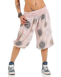 685df7a4c70624 Zarmexx Damen 3/4 Pumphose Capri Pluderhose im Harem-Stil Kurze Sommerhose  Yoga Aladinhose