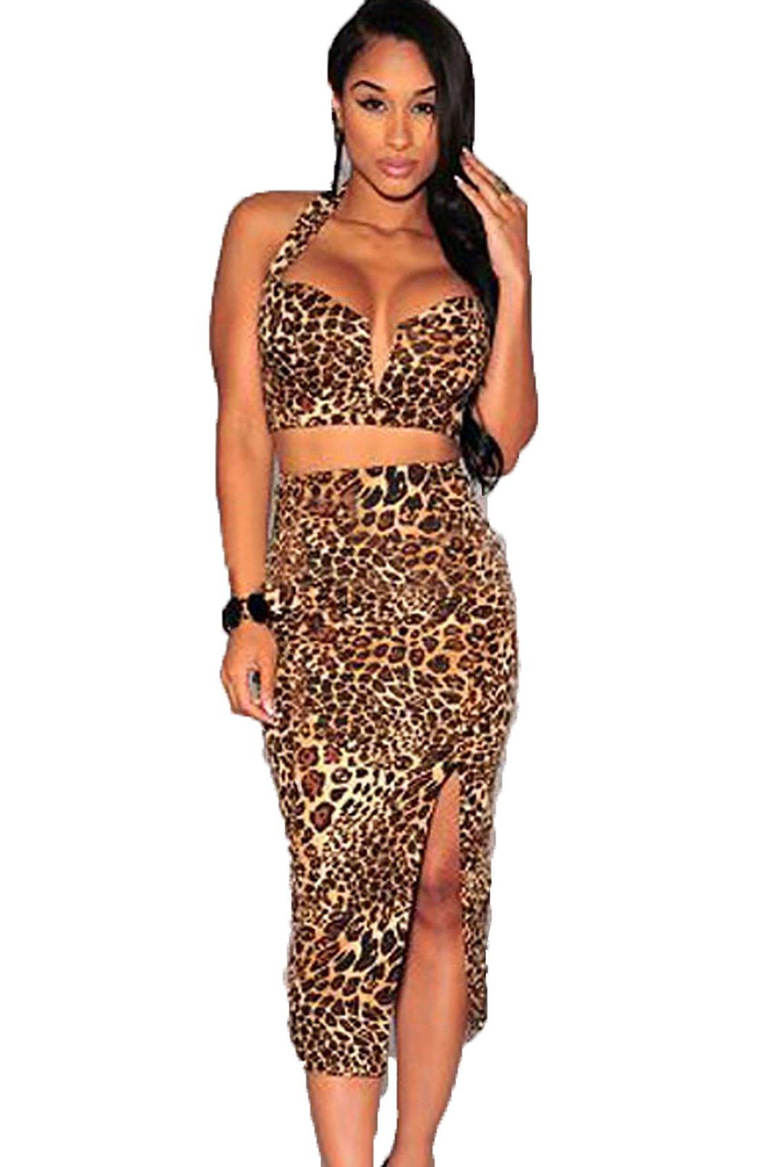 Vestito A Due Pezzi Gonna A Vita Alta Leopardo V-Collo,Leopardo,taglia unica
