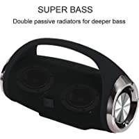 Unv Loudest Ever Boom Box Mini Wireless Portable Bass Passive Speaker Built-in Charger for Phones and Water Splash Proof with Rubber Surround Sound 10W Loudspeaker and SD Card (Random Color)