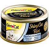 GimCat Shiny cat filet Alimento para gatos adultos sin azucar y gluten, Atún con anchoas, 24 x 70 g