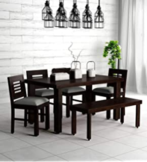 Craftswood Furniture Solid Sheesham Wood 6 Seater Dining Table with 4 Chairs and Bench | Home Dining Set Room Furniture…