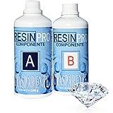 Resin Pro - Resina Epossidica Trasparente Atossica - Resina + Indurente, Effetto Acqua, Lucida, Creazioni Artistiche, Restaur