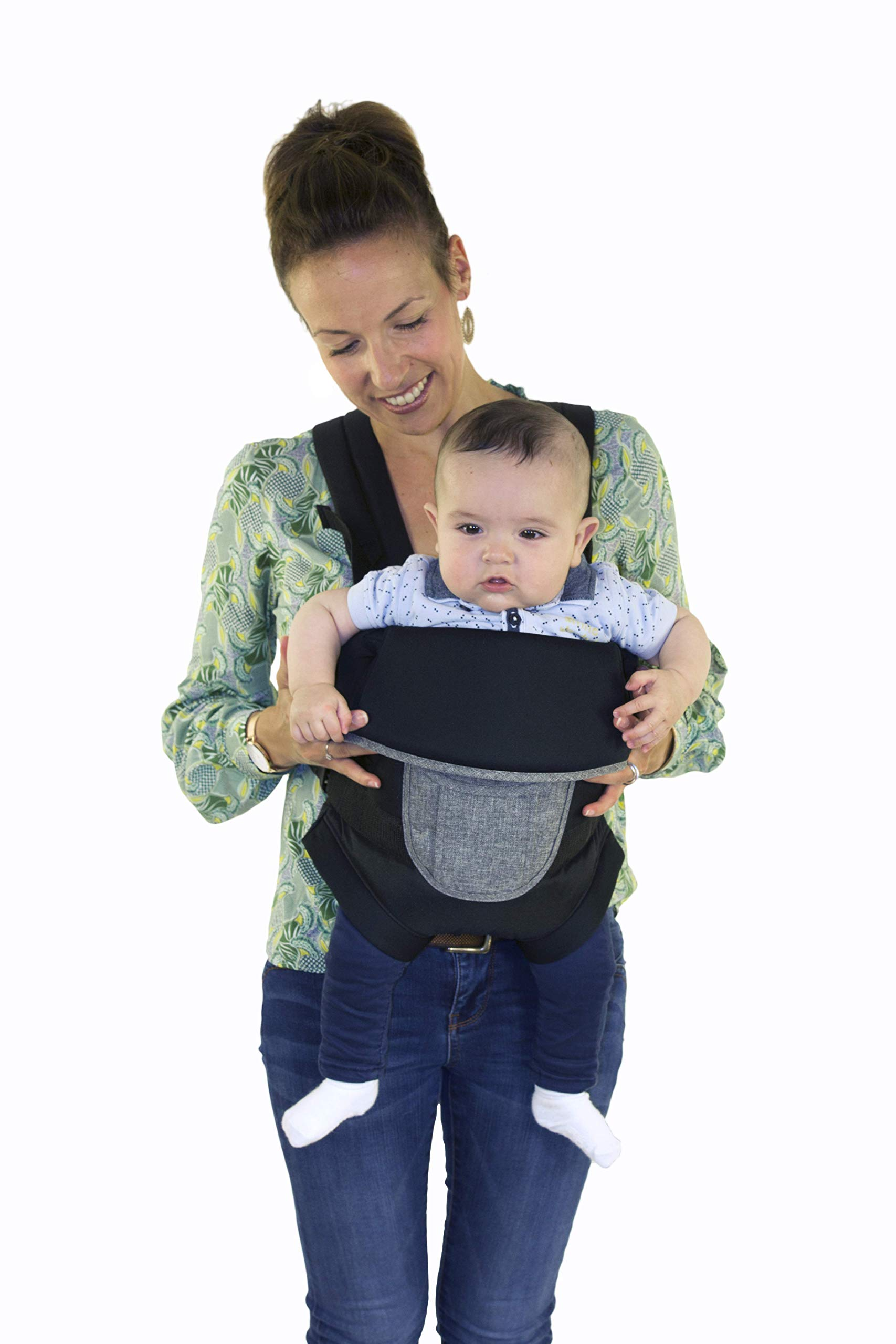 Safety 1st Youmi Baby Carrier, Black Chic Safety 1st 2 positions: parent facing and forward facing Comfortable and safe seat thanks to padding and reinforced back and head piece Safe and easy to install the baby thanks to the zippered opening 2