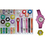 Jiya Enterprise Analogue Girl's Watch (Multicolored Dial & Strap)