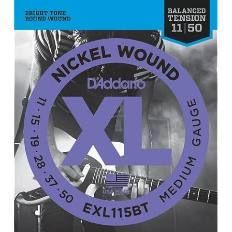 D'Addario EXL115BT - Cuerdas de níquel puro para guitarra eléctrica, Blues-Jazz Rock, 11-48
