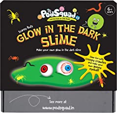 The Glow In The Dark Slime- Make two amazing blobs of glow in the dark slime. Create your own gooey, slimey horror show by adding monster eyes and creepy crawlies. (Science/ Slime Activity Box- Chemistry- 6 years and above)