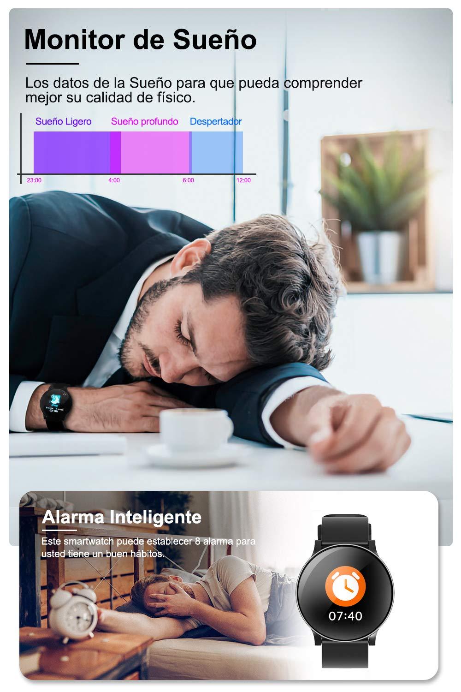 AIMIUVIE Smartwatch, Reloj Inteligente IP67 con Pulsómetro Podómetro Presión Arterial Oxígeno de Sangre, Sueño, Reloj Inteligente Deportivo para Mujer Hombre … 5