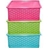 Kuber Industries Plastic 3 Pieces Medium Size Multipurpose Solitaire Storage Basket with Lid (Multi) -CTLTC10891