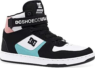 DC Pensford White Black Multi Mens Leather Hi Top Skate Trainers