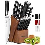Emojoy Couteaux de Cuisine, Ensemble de Couteaux 15 pièces avec Bloc de Couteaux, Set Couteaux Cuisine Professionnels en Acie