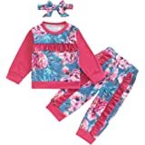 Newborn Baby Girl Clothes Long Sleeve Floral Stitching Sweatshirt Tops+ Pant Outfits Set