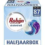 Robijn Stralend Wit Wasmiddel 3-in-1 Wascapsules, voor de Witte Was - 3 x 29 wasbeurten - Halfjaarbox