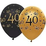40Th Black & Gold Balloons 6Pk, UTSG11269_1_SML