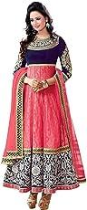 JB Fashion Women's Net Anarkali Salwar Suit (Pink, Free Size)