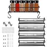 étagère de cuisine à 4 niveaux - Porte Épices rangement en métal autocollan, pour Cuisine, Salle de Bain, Comptoir (Schwarz 4