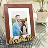Art Street MR and MRS Customize Synthetic Wood Table Photo Frame for Valentine Day (Brown)