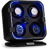 Klarstein Clover - Custodia Orologi, Watches Winder, Scatola del Tempo, 4 Orologi, 3 Rotazioni, 4 Velocità, LED, Cuscinetti R