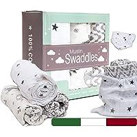 BabyTools® Mussole Neonato 120x120 Cm con Bavaglino e Sacchetta - Copertina Neonato in 100% Cotone Organico (Certificato…