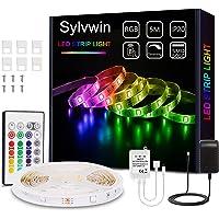 Sylvwin Ruban LED, Bande LED 5m RGB avec Télécommande,5050 Bandes LED Lumineuse avec 16 Changements de Couleur,4 Modes…