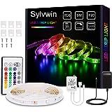 Sylvwin Ruban LED, Bande LED 5m RGB avec Télécommande,5050 Bandes LED Lumineuse avec 16 Changements de Couleur,4 Modes pour M