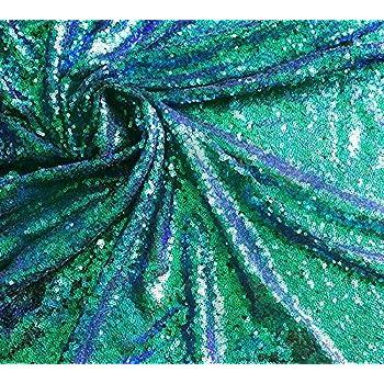 Reversible Mermaid Fishscale Sequin Fabric Two Tone Iridescent Silver 91*130cm