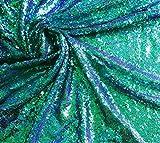 LushFabric 3mm Mini Pailletten Stoff Material, Grün, Violett, die Meerjungfrau Fisch Sequins, Sequins Schwanz, Stretch/120cm Breite (METERWARE) Iridescent Green