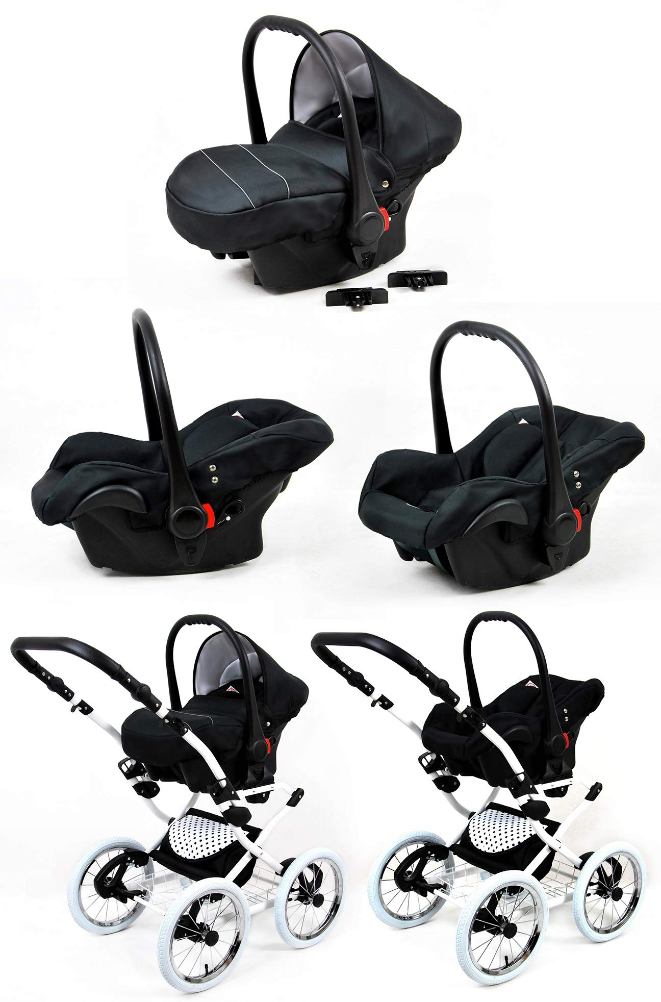 Travel System Retro Stroller Pram 2in1 3in1 Set Isofix Nostalgica by SaintBaby Navy Blue Star 2in1 Without Baby seat SaintBaby 3in1 or 2in1 Selectable. At 3in1 you will also receive the car seat (baby seat). Of course you get the baby tub (classic pram) as well as the buggy attachment (sports seat) no matter if 2in1 or 3in1. The car naturally complies with the EU safety standard EN1888. During production and before shipment, each wagon is carefully inspected so that you can be sure you have one of the best wagons. Saintbaby stands for all-in-one carefree packages, so you will also receive a diaper bag in the same colour as the car as well as rain and insect protection free of charge. With all the colours of this pram you will find the pram of your dreams. 4