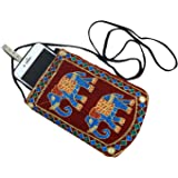 Kuber Industries Embroidered Velvet Mobile Cover with Saree Hook, Red