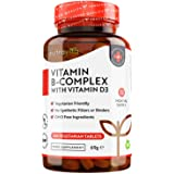 B-complex con D3-365 Compresse Vegetariane - Fornitura per 1 Anno - Complesso 8 Vitamine B ad Alta Dosaggio in 1 Compressa -
