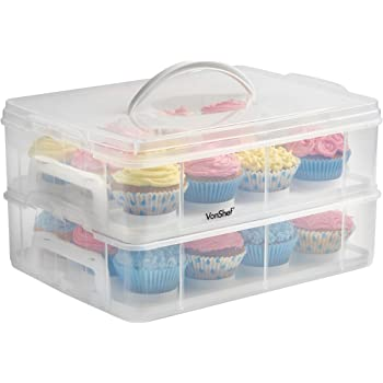 VonShef 2 Tier Cupcake Carrier Storage - Snap and Stack Design, Store up to 24 Cupcakes or 2 Large Cakes