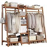 GWLGWL Portant Penderie à Vêtements en Bambou, 4 en 1 Porte-Manteaux pour Chambre à Coucher Couloir Salon, avec 9 Etagères De