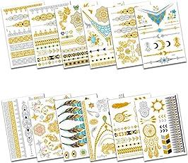 Kapmore Body Tattoos, Waterproof Glitter Temporary Tattoos Body Sticker for Party Small 12 Sheet