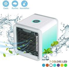 Rxment Mobiles Klimageräte Air Cooler - mini 3 in 1 mit Wasserkühlung Zimmer Raumentfeuchter Mini Klimaanlage ohne Abluftschlauch für Büro, Hotel, Garage, 3 Kühlstufen - 7 Stimmungslichter