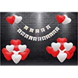 HK balloons® Pack of 51 Happy Anniversary Banner with red White Heart Shaped Balloons for Anniversary Party Decorations