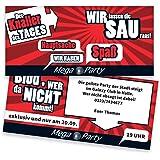 Einladungskarten zum Geburtstag - Mega Party | 40 Stück | Inkl. Druck Ihrer persönlichen Texte | Individuelle Einladungen | Karte Einladung