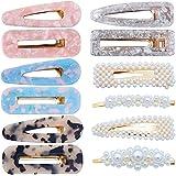 12 pezzi Fermagli per capelli perni di perle in resina acrilica perni per ragazze Clip di perle geometriche per donne Barrett