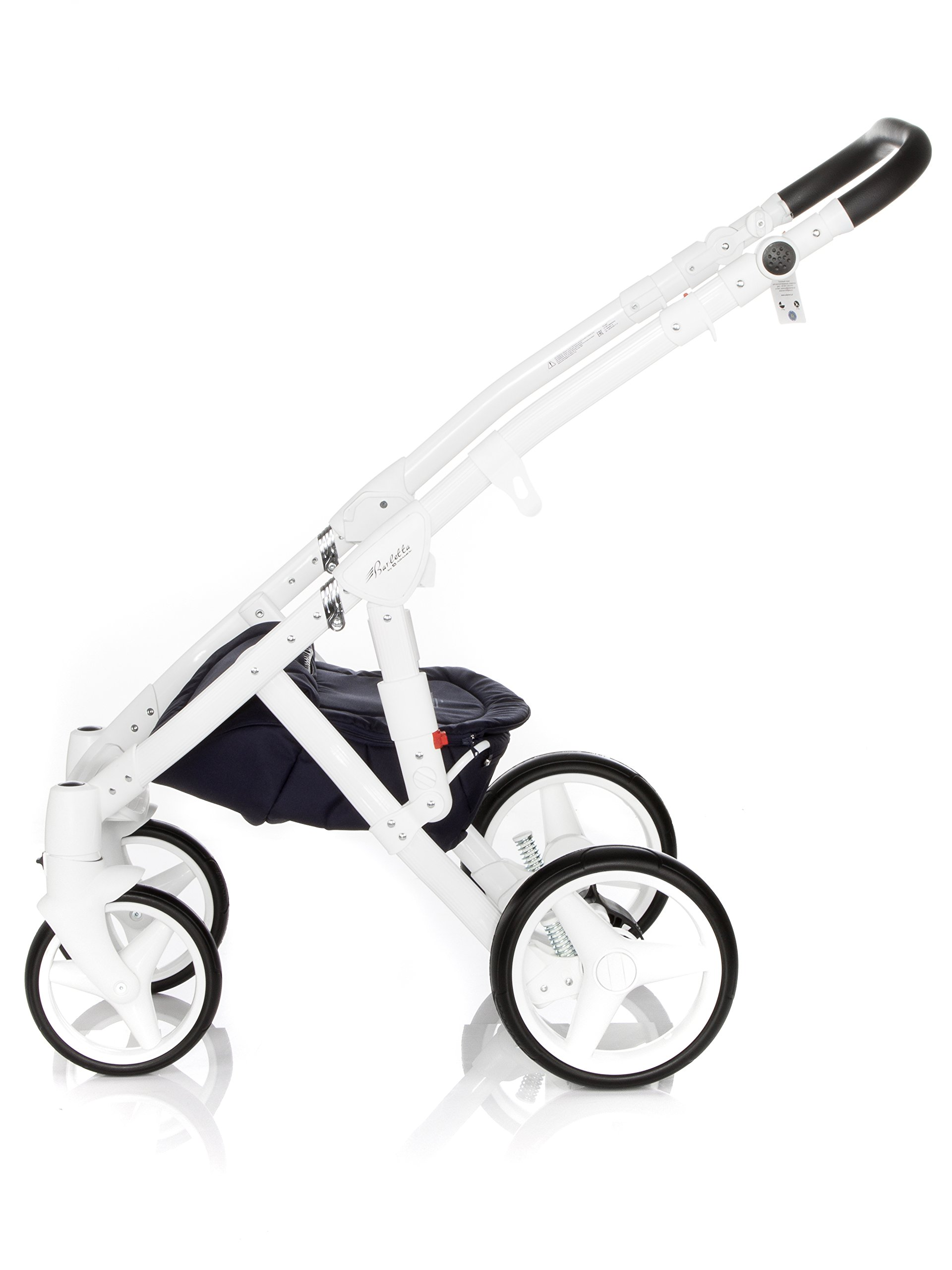 Baby Pram Pushchair Stroller Buggy, Travel System Adamex Barletta New B7 Fox-Navy-White 2in1 + ADAPTORS for CAR Seats: Maxi-COSI CYBEX KIDDY Be Safe Adamex Lockable swivel wheels and lockable side suspension system Light alluminium chassis with polyurethane wheels 2 separate modules + car seats adapters - big and deep baby tub functional sport seat and car seats adapters that can be attached to the following car seats: Maxi-Cosi: City, Cabrio fix, Pebble Cybex: Aton Kiddy: Evoluna i-Size, Evolution Pro 2 Be Safe: iZi Go 7