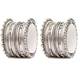 Shining Diva Fashion Set of 40 Latest Oxidized Antique Design German Silver Traditional Bangles for Women