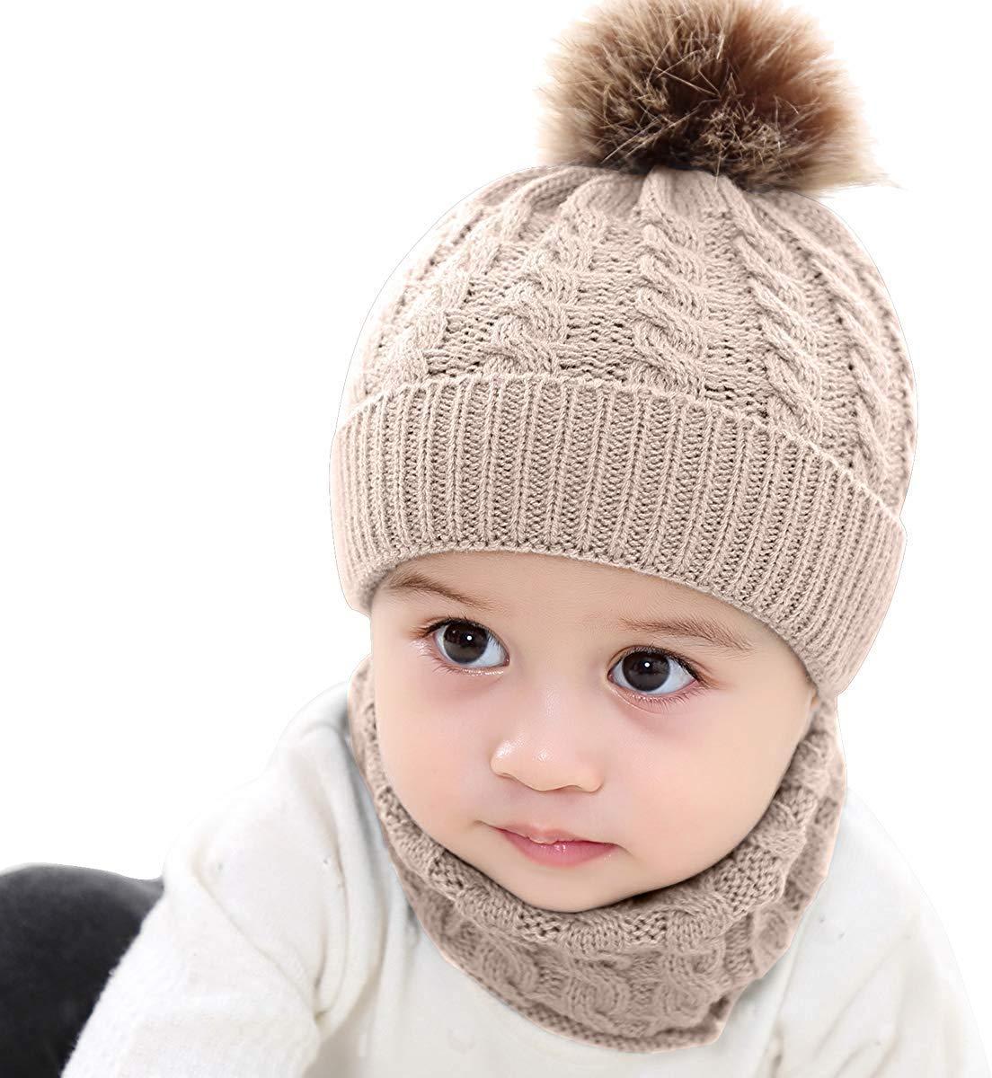 Lumsinker 2 Piezas Bebé De Punto Sombreros Conjunto de Bufanda Gorro Beanie 3