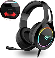havit RGB bedrade Gaming Headset PC USB 3.5mm XBOX / PS4 Headsets met 50MM Driver, Surround Sound & Microfoon, XBOX One Gami