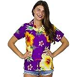 Funky Hawaiian Blouse Shirt Women Short-Sleeve Front-Pocket Paradise Flowers Multiple Colors