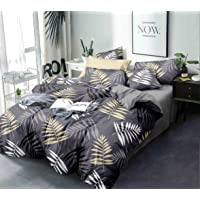 Amrange Glace Cotton 225TC Double King Size Grey Leaves Design Bedsheet with Two Pillow Covers for Home-Hotels-Guest…