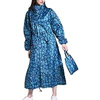 Women Waterproof & Windproof Hooded Raincoat Parka Light Fashion Foldable Long Colorful Printed Rainwear L