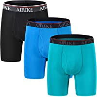 AIRIKE Men's Underwear Boxer Briefs Bamboo Fiber Ultra Soft Long Leg Boxer Shorts