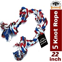 BLACK DOG Cotton Rope Chew Toy for Dogs Large with 5 Chew Knots - Extra Durable (Color May Vary)