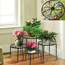 Nayab Handicrafts 4-in-1 Floral Metal Potted Plant Stand, Large (Black)