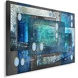 Feeby Tableau imprimé sur Toile Deco Canevas 80x120 Image Abstraction Rectangles Cadres Gris Bleu