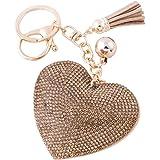 Soleebee Portachiavi in pelle cuore d'amore Bling Cristallo Portachiavi auto Fascino accessori per borse e Personalizzare Zai